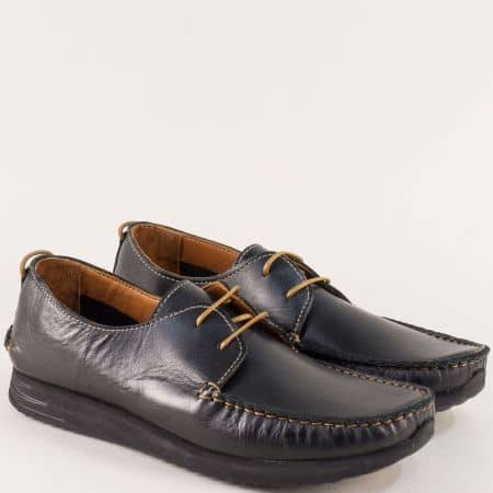 Кожени мъжки обувки, тип мокасина с връзки в черно b475ch