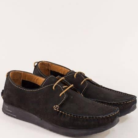 Черни мъжки обувки, тип мокасина от естествен набук b475nch