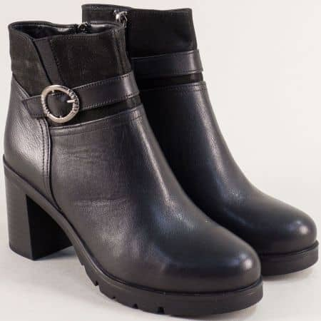 Черни дамски боти от сатен и естествена кожа на висок ток b504ch