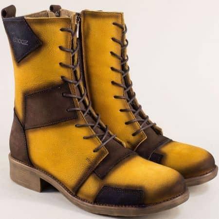 Жълт естествен набук дамски боти нисък ток b5120nj