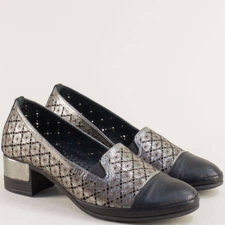 Бронзови дамски обувки от сатен и естествена кожа b522brz