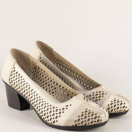 Бежови дамски обувки с кожена стелка и перфорация b52bj