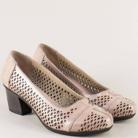 Розови дамски обувки с перфорация от естествена кожа b52srz