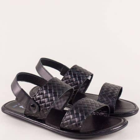 Черни мъжки сандали от естествена кожа на гъвкаво ходило b550ch