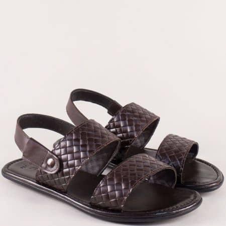 Мъжки сандали от естествена кожа в тъмно кафяв цвят b550kk