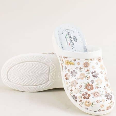 Дамски чехли с флорален принт в бяло и бежово- Spesita b556bjps