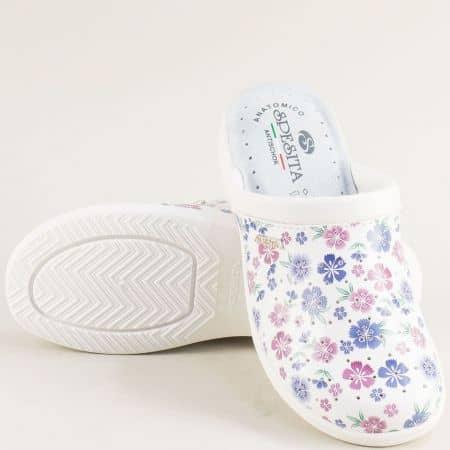 Перфорирани дамски чехли на платформа с бяло и синьо b556sps