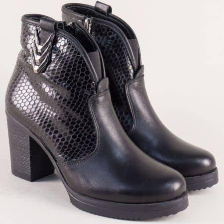 Черни дамски боти на висок ток от естествена кожа и лак b55zch