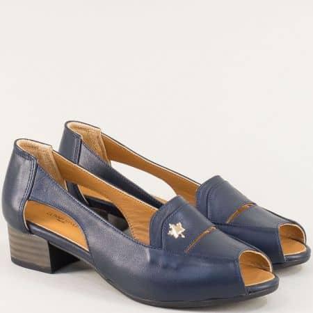 Сини дамски сандали от естествена кожа на среден ток b61s