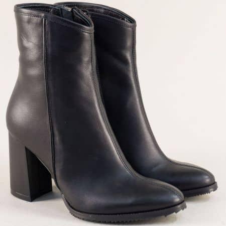 Черни дамски боти на висок ток от естествена кожа  b623ch