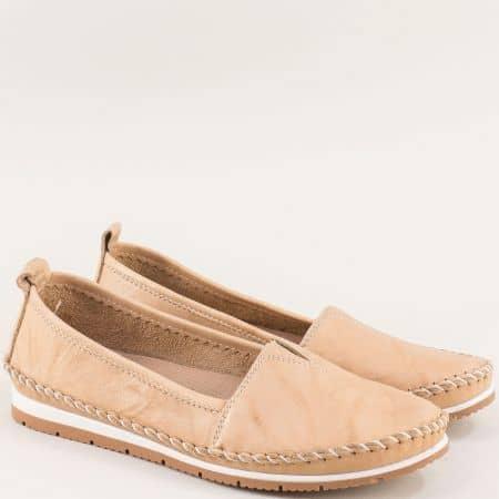 Дамски обувки с ластик на равно ходило в бежов цвят  b63bj
