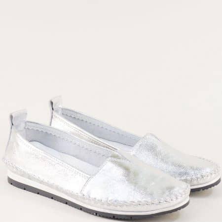 Сребърни дамски обувки с ластик от естествена кожа  b63sr