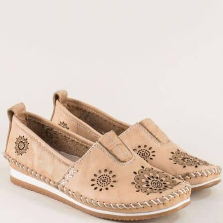 Бежови дамски обувки с перфорация и кожена стелка b65bj