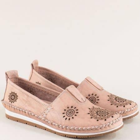 Естествена кожа дамски обувки на анатомично ходило в розов цвят b65rz