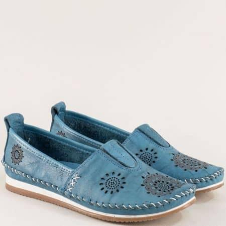 Равни дамски обувки от естествена кожа в син цвят b65ss