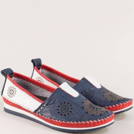 Кожени дамски обувки в бяло, синьо и червено b65tomi