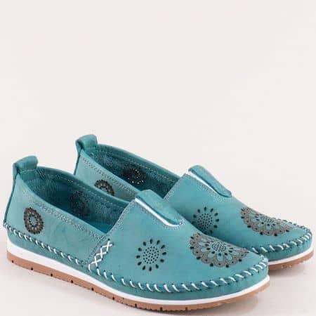Кожени дамски обувки с перфорация в зелен цвят b65z