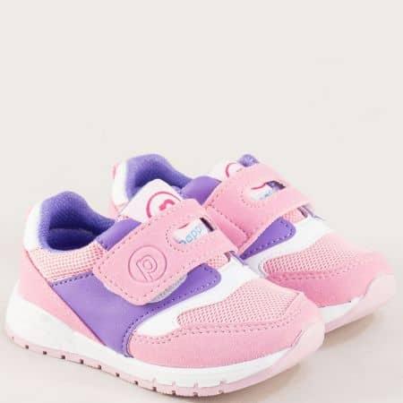 Детски маратонки с лепка в бяло, лилаво и розово b678rz