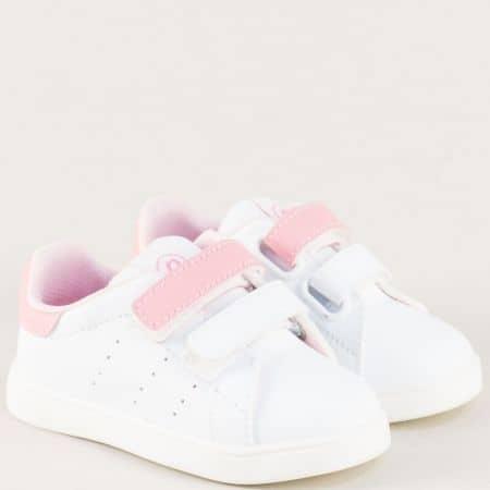 Детски кецове с две лепки в бяло и розово b682brz