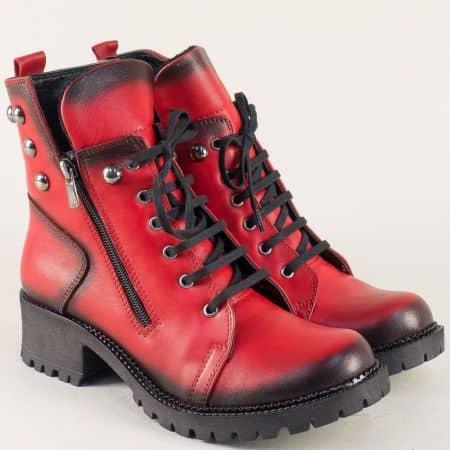Кожени дамски боти в червен цвят на грайферно ходило b703chv