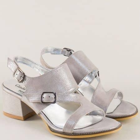 Сребърни дамски сандали с две катарами на среден ток b707sr