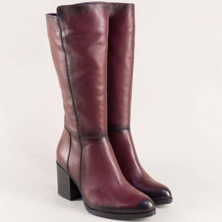 Дамски ботуши от естествена кожа в цвят бордо b713bd