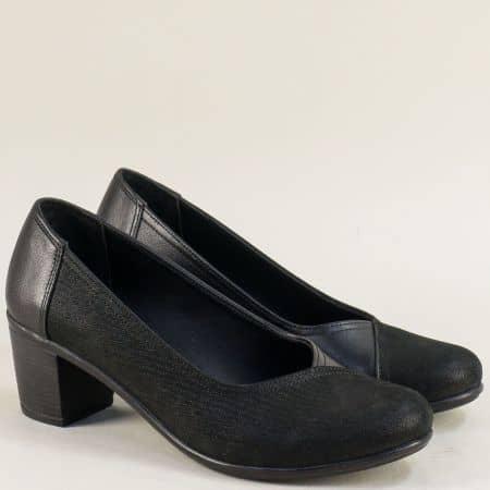 Естествена кожа дамски обувки на среден ток в черен цвят b802ch