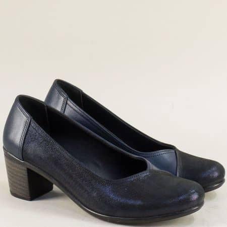 Сини дамски обувки от естествена кожа на среден ток b802s
