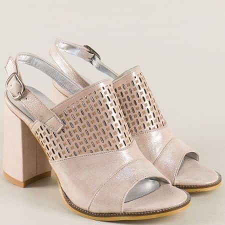 Розови дамски сандали с перлен блясък на висок ток b903rz