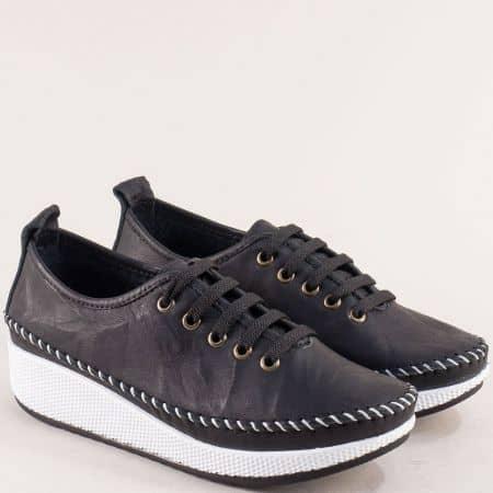 Дамски обувки на лека и пришита платформа в черен цвят от естествена кожа b861ch