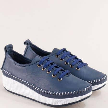 Сини дамски обувки от естествена кожа с връзки b861s