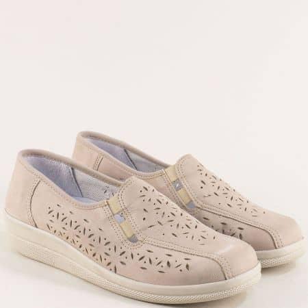 Бежови дамски обувки с ластик и кожена стелка- Portania becasnbj