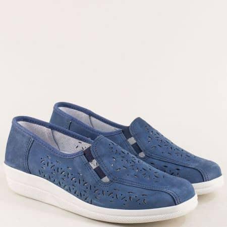 Перфорирани дамски обувки от син естествен набук becasns