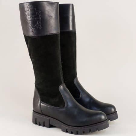 Дамски ботуши в черен цвят от естествен велур и кожа  biker621ch