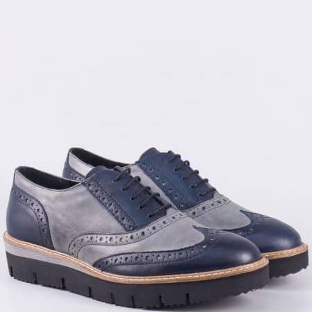 Дамски кожени обувки с връзки, на платформа GIDO - Пещера в сиво и синьо bl1bambyssv