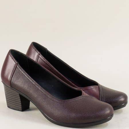 Кожени дамски обувки в цвят бордо на среден ток bo202bd