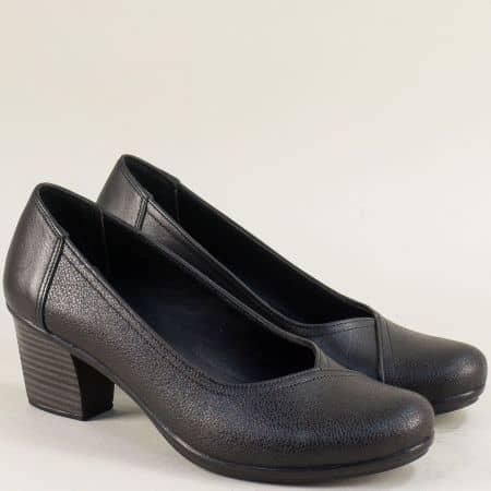 Кожени дамски обувки в черен цвят на среден ток  bo202ch
