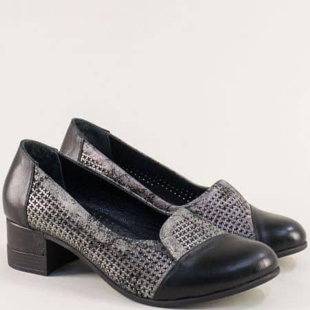 Кожени дамски обувки в черно и сребро на нисък ток bo222chsr