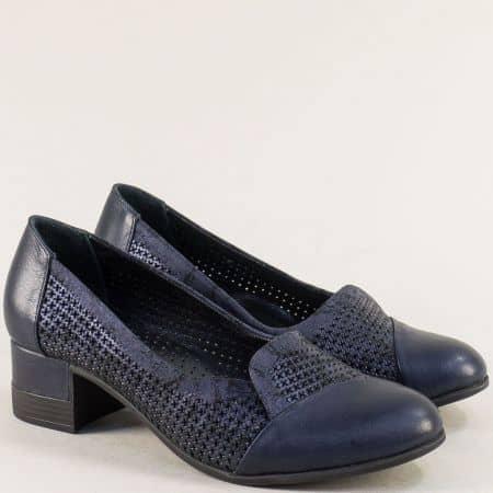 Сини дамски обувки от сатен и естествена кожа на нисък ток bo222ss