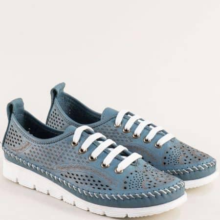 Перфорирани дамски обувки от естествена кожа в синьо bo260s