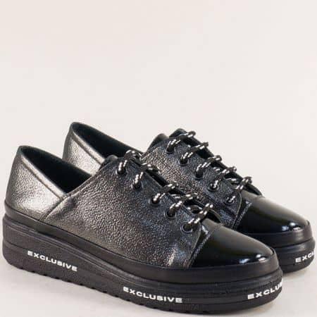 Фешън дамски обувки от естествена ефектна кожа bo501sbrz