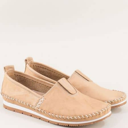 Бежови дамски обувки от естествена кожа на равно ходило bo55bj