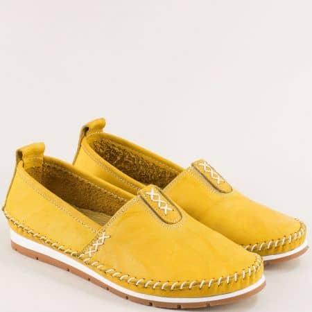 Жълти дамски обувки от естествена кожа на анатомично ходило bo55j