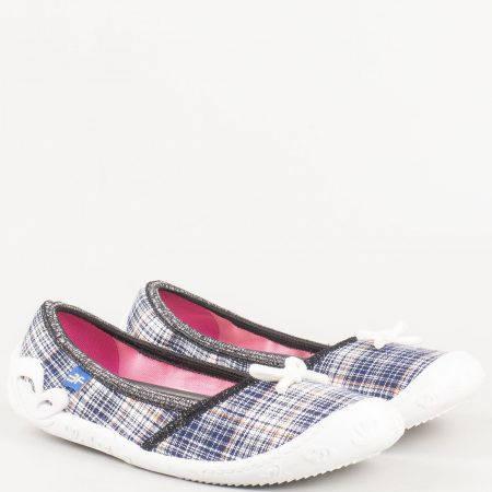 Детски текстилни обувки, тип балерини с панделка и кожена стелка на български производител bonas