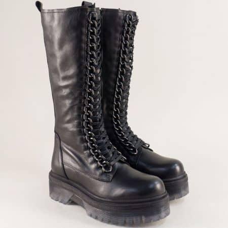 Естествена кожа дамски черни ботуши на български производител british03ch
