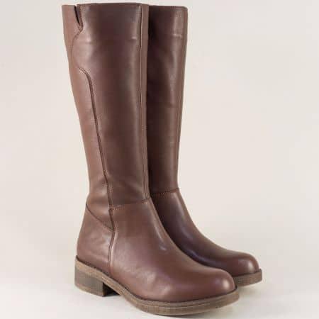 Кафяви дамски ботуши от естествена кожа на нисък ток brok1119kk