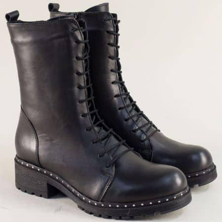 Български дамски боти от естествена кожа в черен цвят brok31120ch