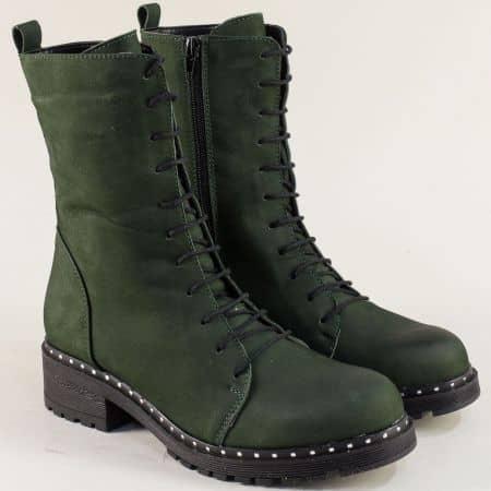 Зелени дамски боти от естествен набук  brok31120nz