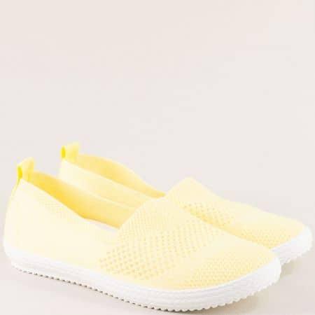Жълти дамски еспадрили от текстил на гъвкаво ходило ca01j