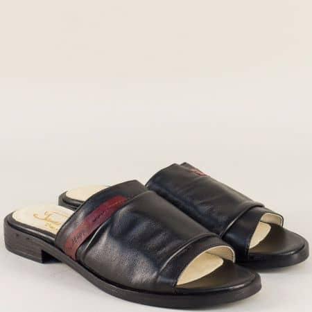 Дамски чехли на нисък ток с кожена стелка в черен цвят candela1ch